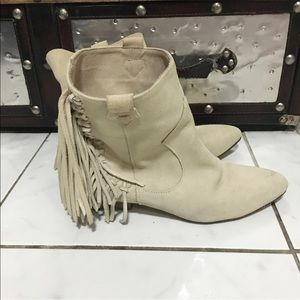 Used / Zara suede fringe ankle boots